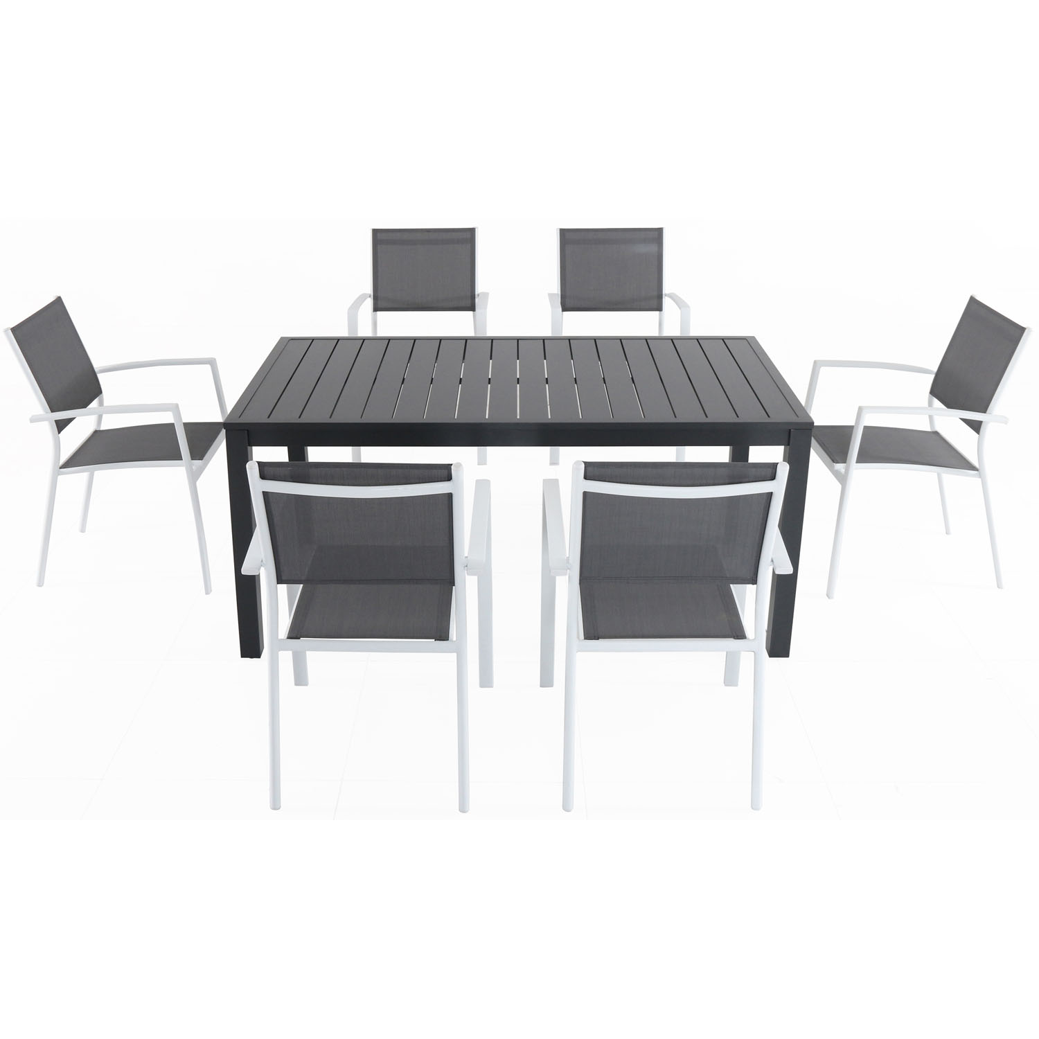 "Hanover Naples 7-Piece Outdoor Dining Set w/ 6 Sling Chairs in Gray/White and 40"" x 78"" Dining Table"