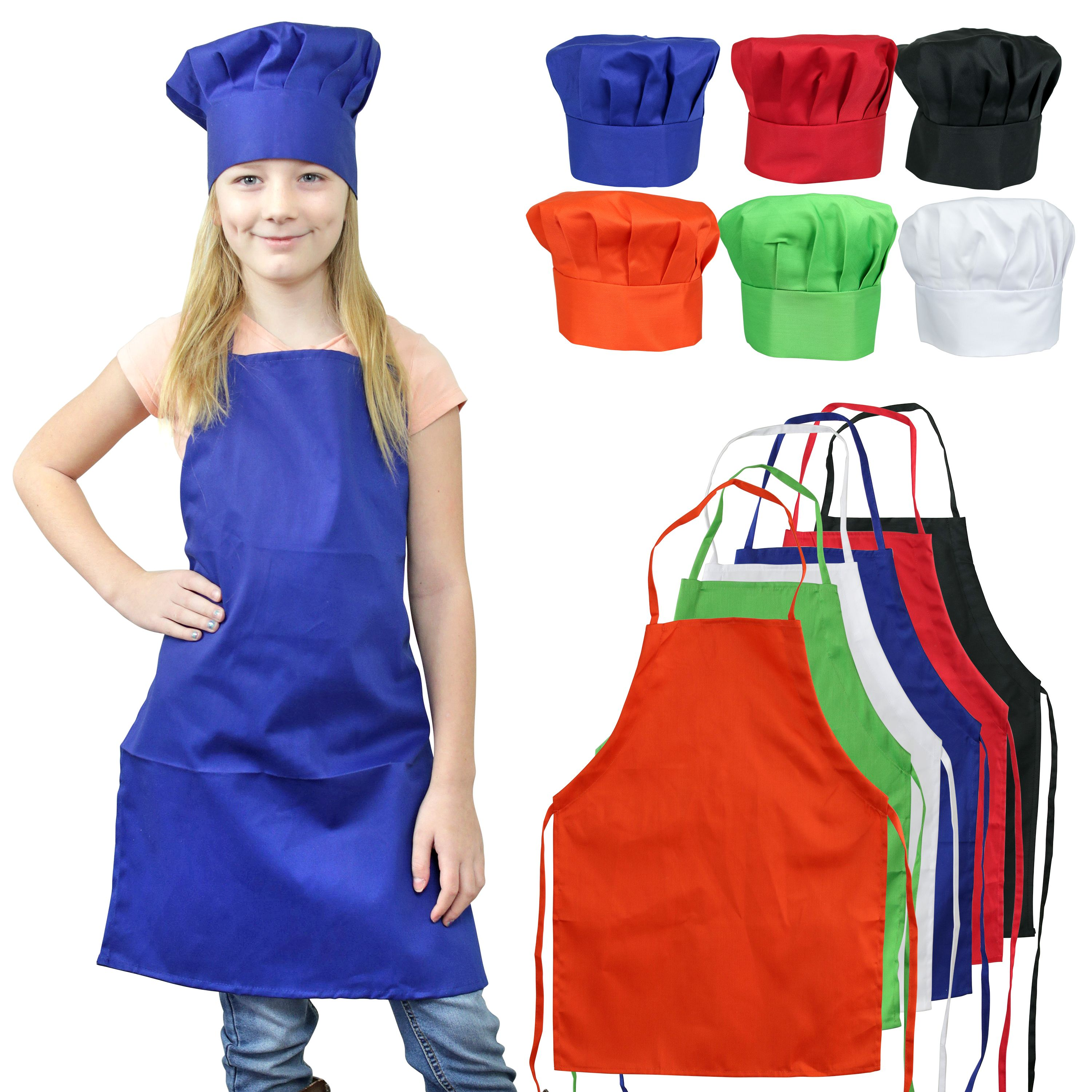 2 Pack Kids Chefs Apron Set White Hat Sleeves Aprons Adjustable Kids Kitchen Cooking /& Baking Painting Wear 4-10 Years Old