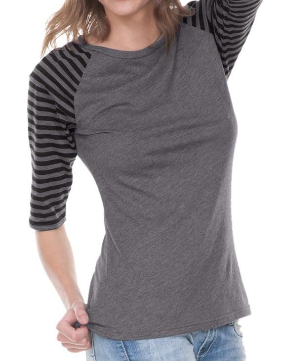 Juniors Striped Jersey Contrast Raglan 3/4 Sleeve, Style JJP0636