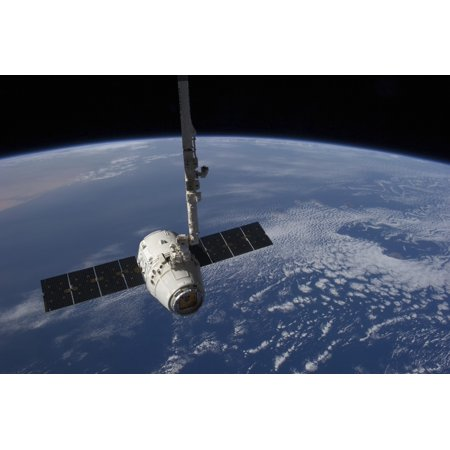 The Spacex Dragon Cargo Craft  Prior To Being Released By The Canadarm2 Robotic Arm Canvas Art   Stocktrek Images  34 X 23