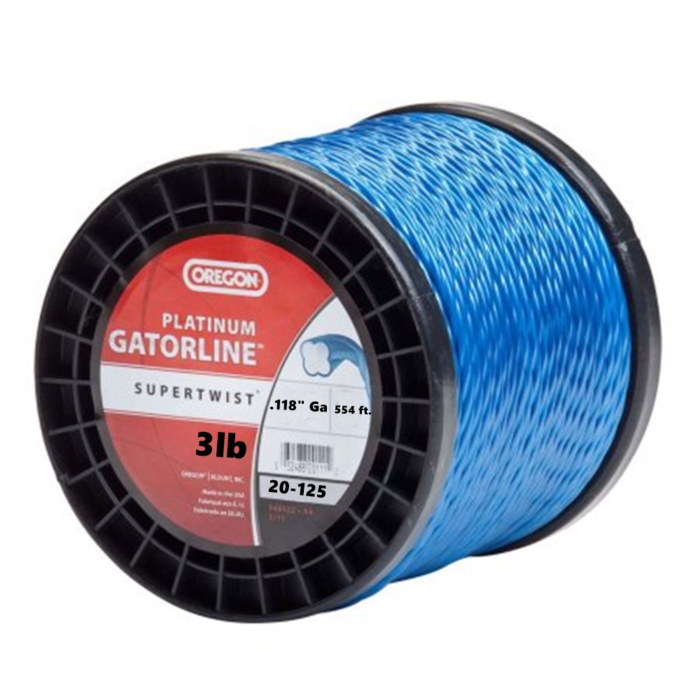 "Oregon Gatorline Platinum Blue Weed Whacker String Trimmer Line .118""GA 3 LB 554' Commercial Grade Spool"