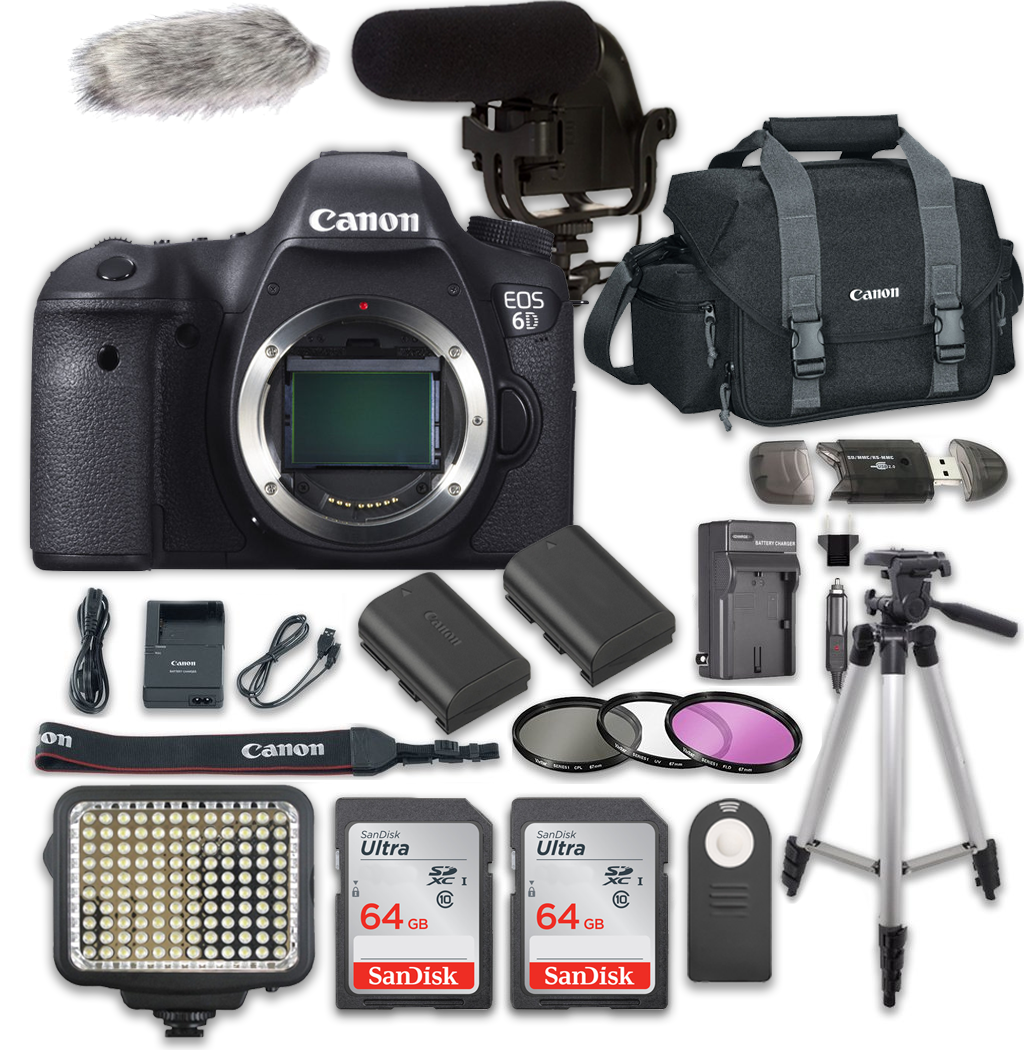 Canon EOS 6D Digital SLR Camera Bundle (Body Only) + Video Creator Accessory Bundle (14 items)