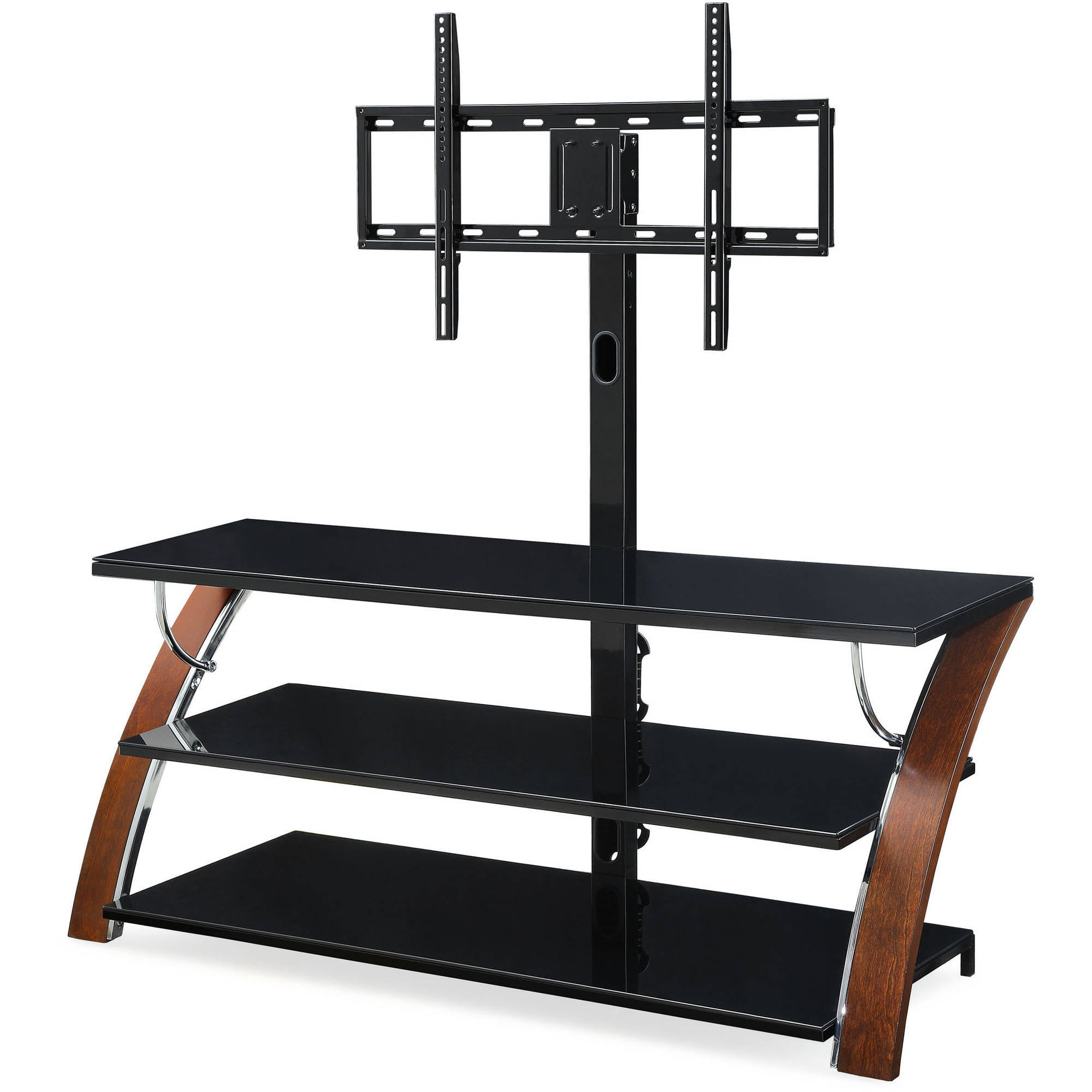 Whalen Brown Cherry 3 In 1 Flat Panel TV Stand For TVs Up To 65   Walmart .com