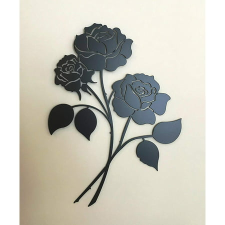 Metal Triple Rose Flower Wrought Iron Wall Art Home Decor Floral French Country Decoration Patio Plaque Art 16 inches ()