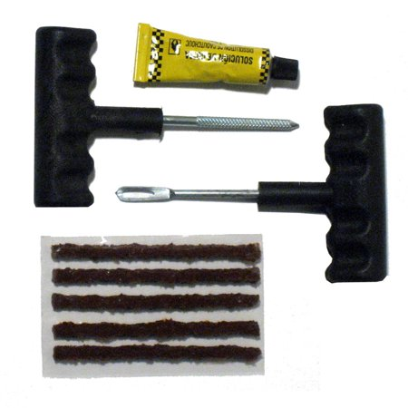 8 PC Tubeless Car Tire Repair Kit Plugs Rasp Needle Patch Fix Tools Cement Set