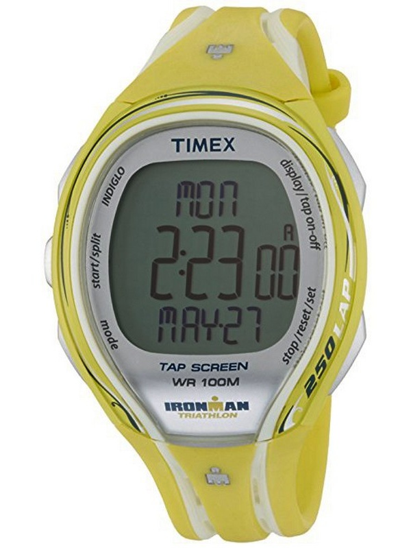 Timex T5K789 Sleek Lap Unisex Yellow Rubber Band With Silver Digital Dial Watch