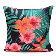 Tropical Plant Flamingo Couch Cushion Pillow Covers 18x18 Square Zippered Cotton Linen Standard Decorative Waist Throw Pillow Covers Slip Case Protector for Sofa Chair Sea