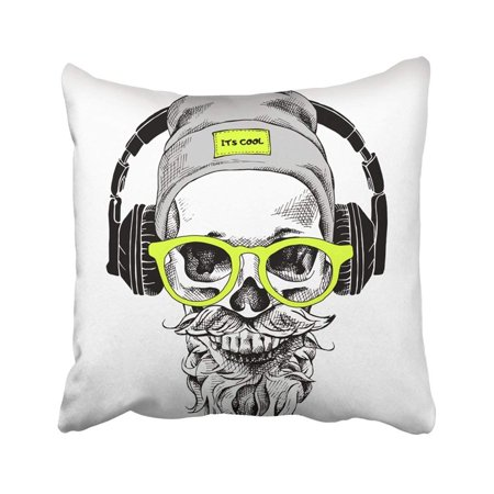 ARTJIA Black Music Skull With Beard Mustache In The Hipster Hat And Headphones Glasses Funny Fake Pillowcase Pillow Cover 16x16 inches (Fake Beards And Mustaches)