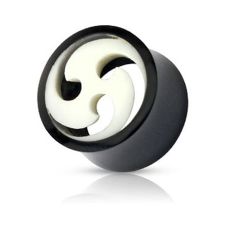 Bone Inlay Body Jewelry Tunnels - Pair Of Organic Buffalo Horn Tunnels With Swirled Bone Inlay,Gauge (Thickness):0 (8.0Mm)