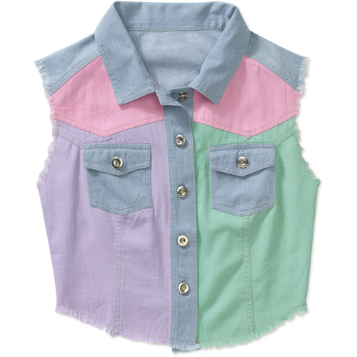 Generic Juniors Pieced Colored Denim Vest