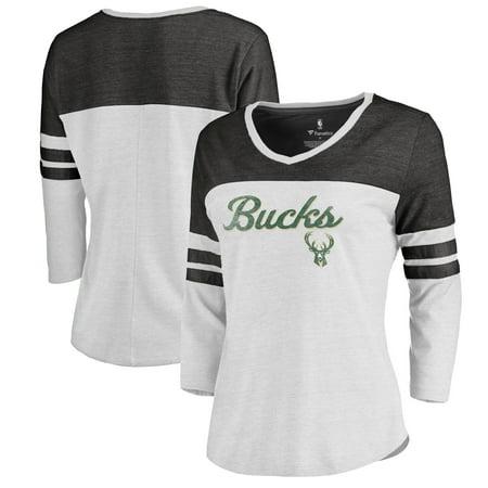 Milwaukee Bucks Fanatics Branded Women's Rising Script Plus Size Color Block 3/4 Sleeve Tri-Blend T-Shirt - White Milwaukee Bucks Colors