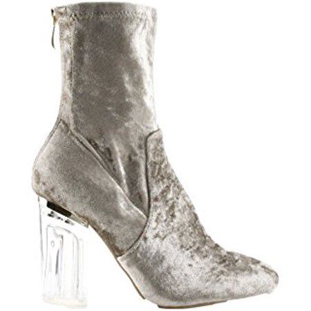 28cf187f177 Cape Robbin Fay-11 Closed Toe Crushed Velvet Block Clear Perspex Heel Ankle  Boot Bootie Gray (6.5)