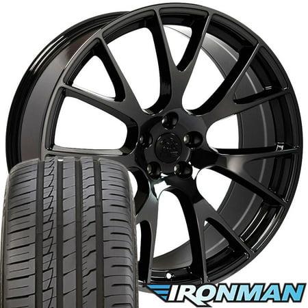 Dodge Charger Tires (OE Wheels 20 Inch Fits Dodge Challenger Charger SRT8 Magnum Chrysler 300 SRT8 DG15 Hellcat Style Black Chrome 20x9 Rims Ironman iMove Gen2 Tires OEM Quality TPMS Hollander 2528)