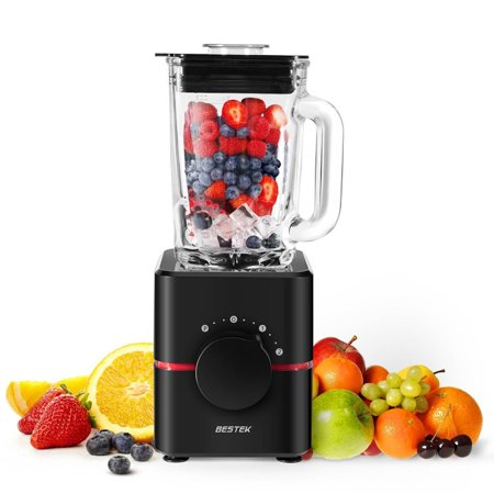 Professional Food Mixers - Blender with Glass Jar by BESTEK- UL Certified, BPA Free 550 Watts Smoothie Blender, 2-Speed Function, Professional Food Processor, Mixer, Juicer, Multi-functional
