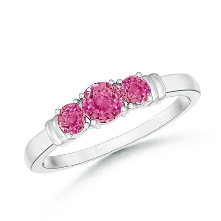 September Birthstone Ring - Vintage Style Three Stone Pink Sapphire Wedding Band in Platinum (4mm Pink Sapphire) - SR0347PS-PT-AAA-4-6