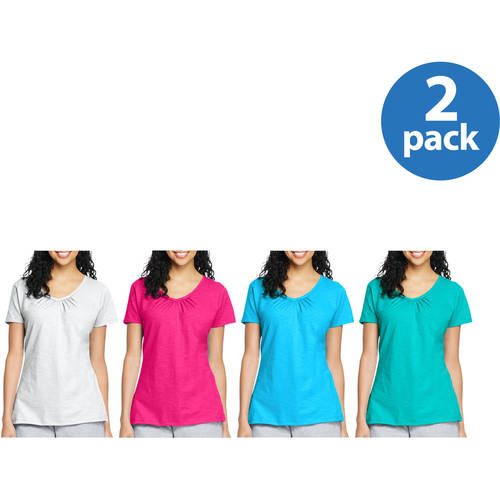 Women's Slub Shirred V-Neck T-shirt 2pk