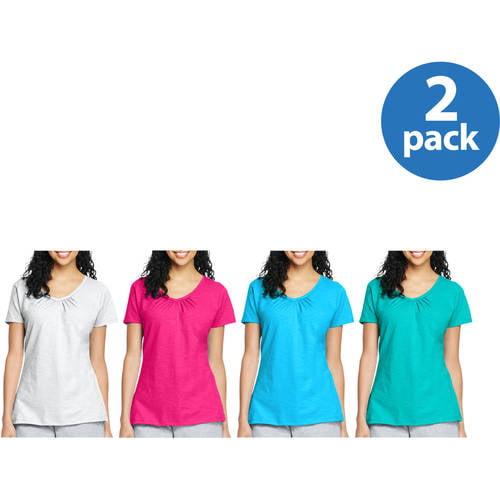 Women's Slub Shirred V-Neck T-shirt 2pk