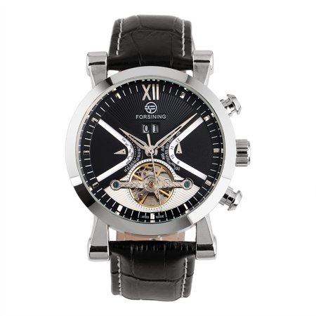 Men's Tourbillon Mechanical Watch Analogue Display Leather Strap Design Black Analogue Dial Watch