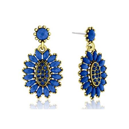 Passiana Cluster Flower Crystal Earrings Blue