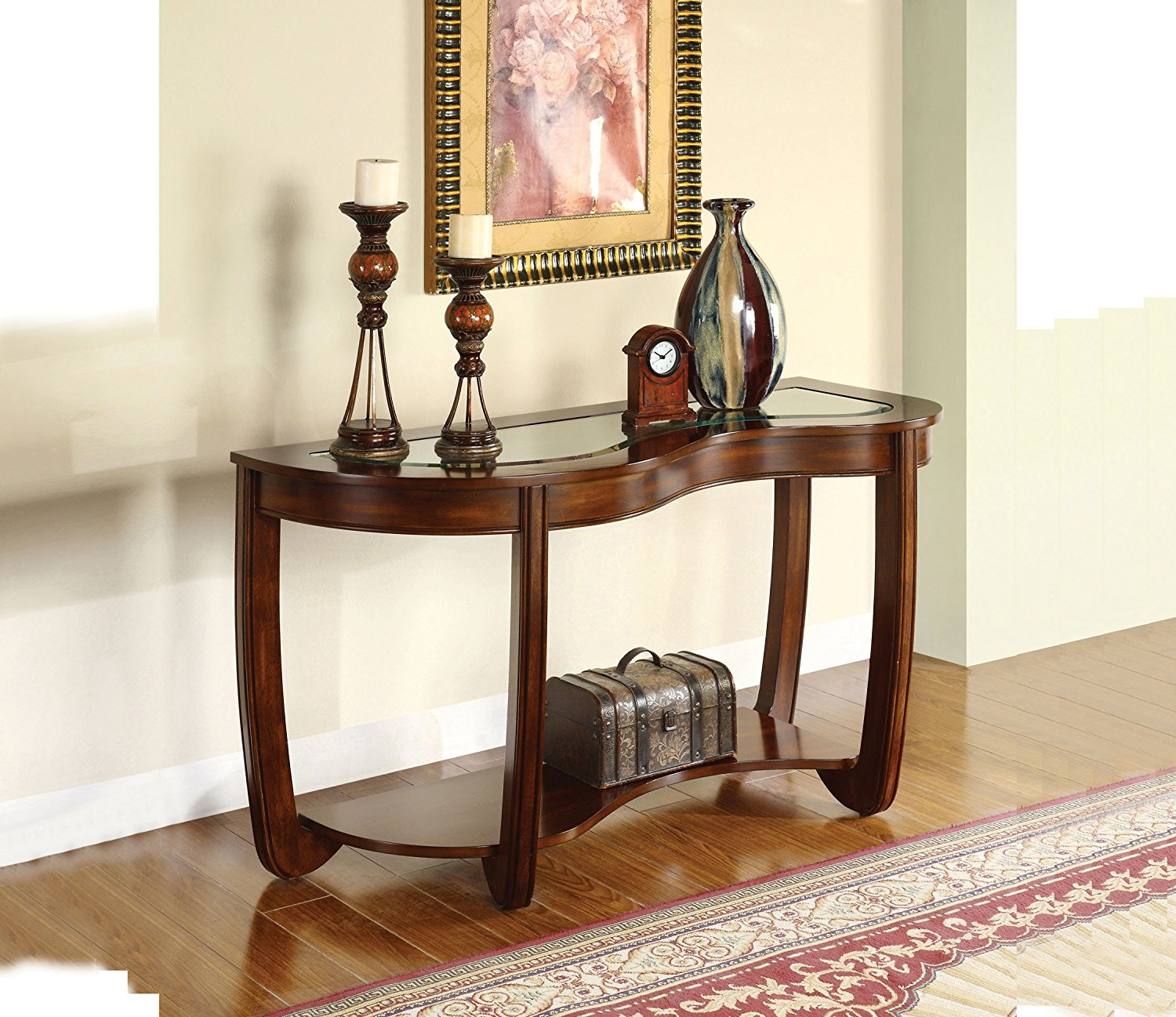 Amazing Furniture Of America Tunton Curved Console Table In Dark Cherry Andrewgaddart Wooden Chair Designs For Living Room Andrewgaddartcom