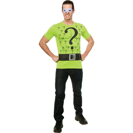 Adult Mens Batman Arkham City Asylum Classic Riddler T-shirt Mask (Arkham City Costumes Halloween)