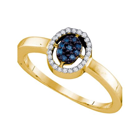 10kt Yellow Gold Womens Round Blue Color Enhanced Diamond Oval Cluster Ring 1/6 Cttw - image 1 of 1