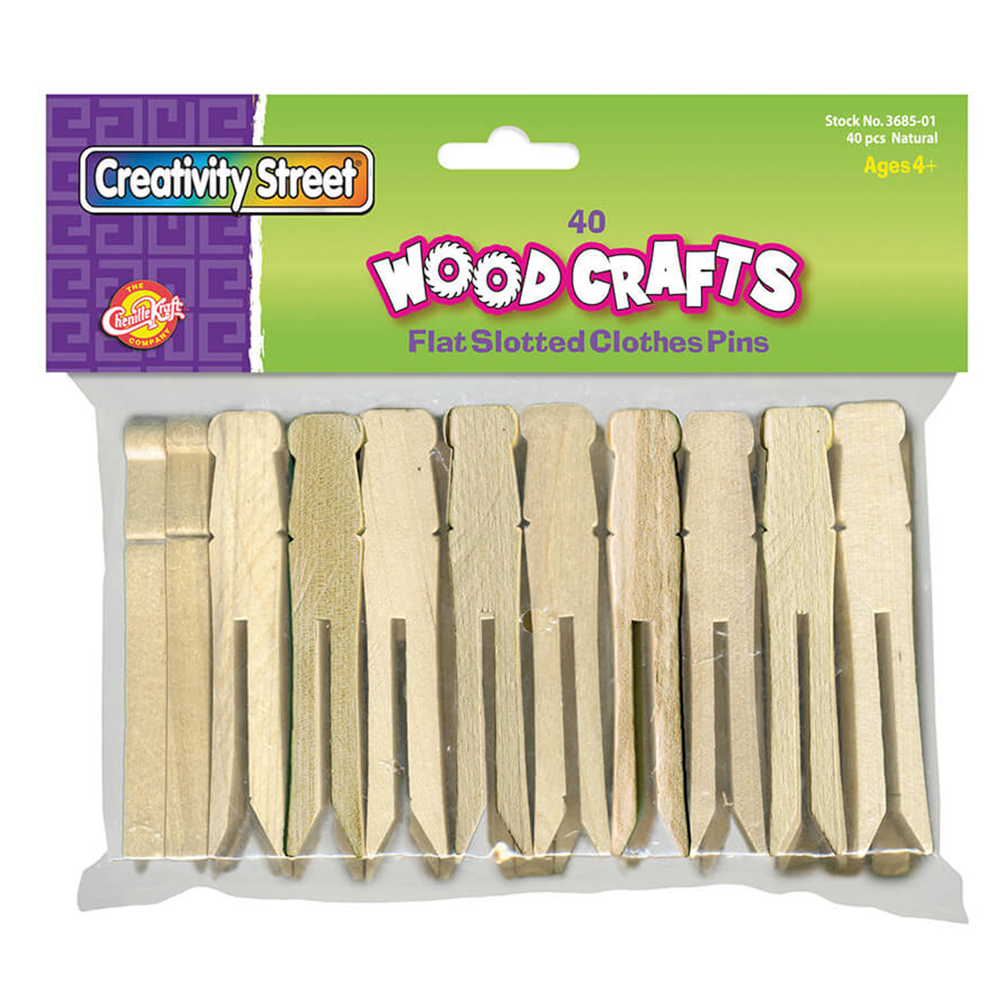 Creativity Street® Wooden Flat Slotted Clothes Pins, Natural - 40 per pack, 6 packs