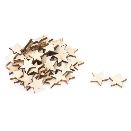 Unique Bargains Wooden Star Shaped DIY Craft Christmas Tree Ornaments Beige 20 x 20mm 50 Pcs](Tree Craft)