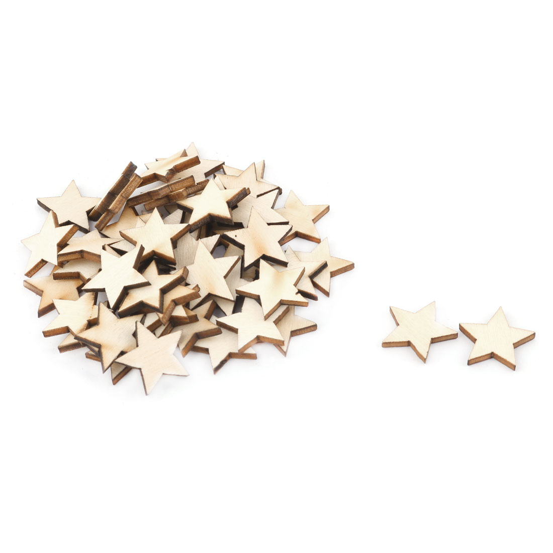 Unique Bargains Wooden Star Shaped DIY Craft Christmas Tree Ornaments Beige 20 x 20mm 50 Pcs