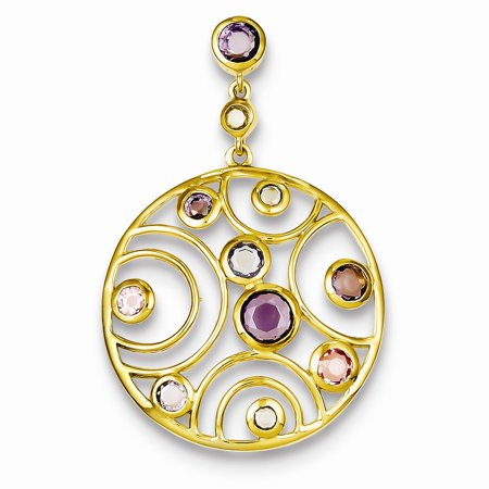 Sterling Silver Polished Open back Hidden bail Gold-Flashed Cubic Zirconia and Glass Pendant