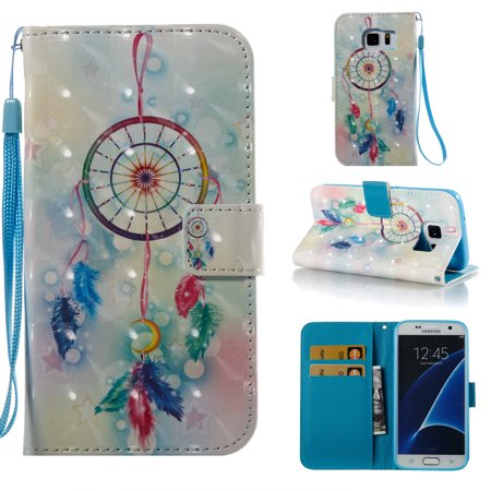 """Galaxy S7 Case, Galaxy S7 Kids Case, Allytech [3D Diamond Bling Design] PU Leather Magnetic Folio Cover & Credit Card Slots Pocket, Kickstand Slim Case for Samsung Galaxy S7 (5.1"""") (Dream Catcher)"""