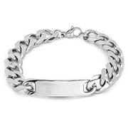 Mens 8 In. Stainless Steel Black Ip Cuban Bracelet, Silver