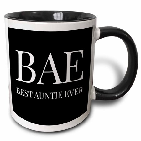 3dRose Bae, best auntie ever, white letters on a black background - Two Tone Black Mug,