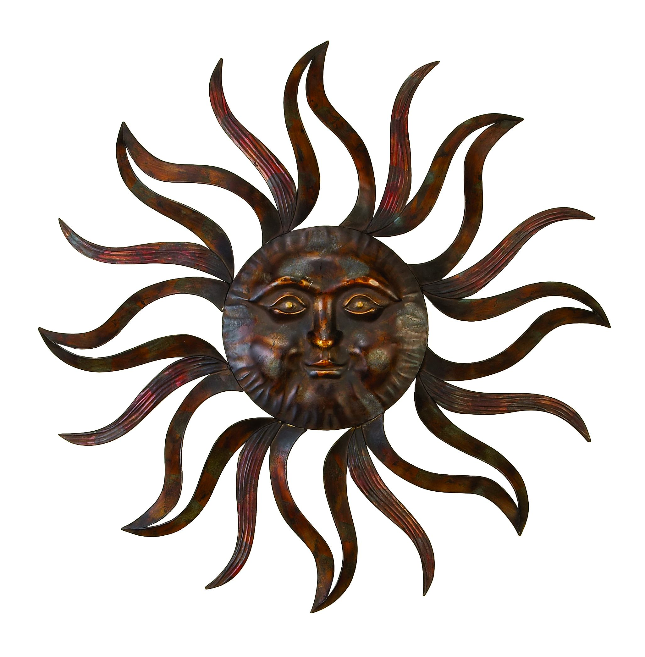 Decmode Eclectic 35 Inch Metal Celestial Sun Wall Decor by DecMode