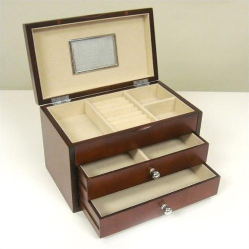 Genoa Jewelry Box - Dark Cherry - 10W x 6.5H in.