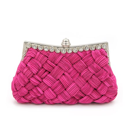 - Elegant Braided Pleated Glitter Rhinestone Clutch Evening Bag