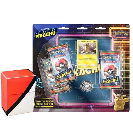 Pokemon Detective Pikachu Special Case File TCG: 3 Booster Pack + Movie  Binder + 1 Assorted Pokeball Deck Box