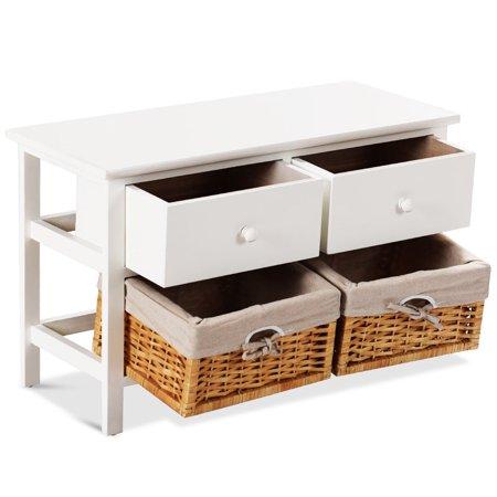 Costway Wood Storage Bench Organizer Shelf w/ 2 Drawer 2 Baskets - image 9 of 10
