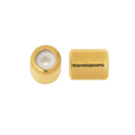 Adjustable Slider Clasp, Tube with Silicone Center 5.5x6.8mm, 4 Pieces, Gold -