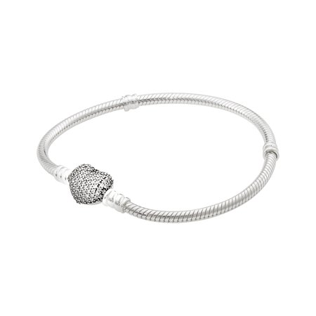 Moments Silver Bracelet with Pave Heart Clasp - 590727CZ-19
