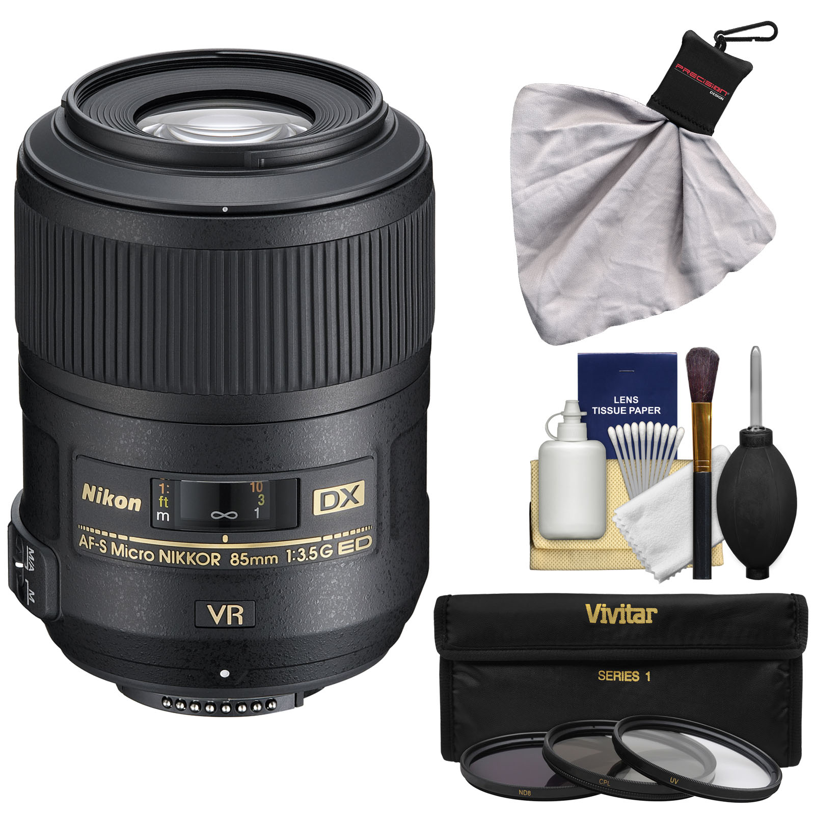 Nikon 85mm f/3.5 G VR AF-S DX ED Micro-Nikkor Lens with 3 UV/CPL/ND8 Filters + Kit for D3100, D3200, D3300, D5100, D5200, D5300, D7000, D7100 DSLR Cameras