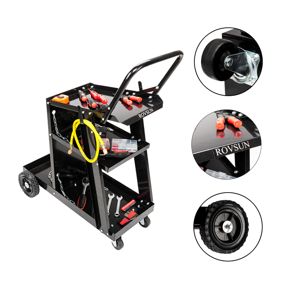 Zimtown RWC-006 Welding Cart Trolley, Hand-Push Style Welding 3 Level Cart Storage Bench with Rubber Wheels