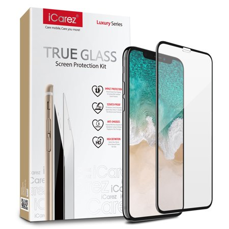 iCarez [3D Full Coverage Glass] Screen Protector for iPhone X Easy Install [1 Pack 0.3MM 9H ] with Lifetime Replacement Warranty - Retail Packaging (Gsm Iphone 4 Screen Replacement)