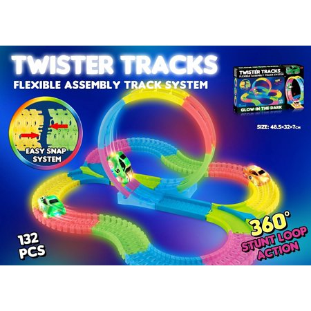 132pc LED Laser Twister Tracks 12 Feet of Light Up Flexible Track + 1 Light Up Race Car -Racetrack That Can Bend, Flex and Glow