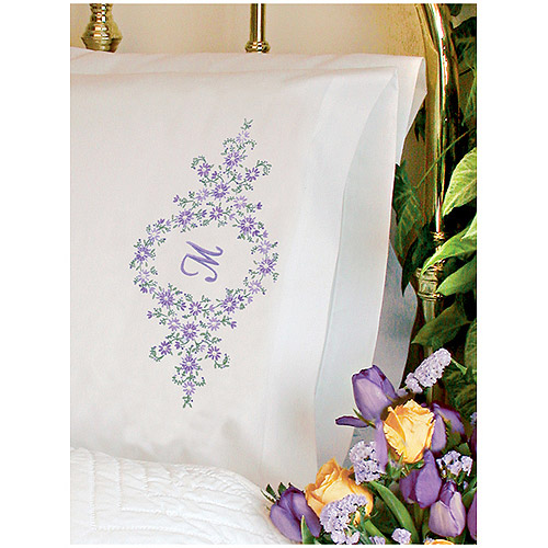 "Dimensions ""Daisy Monogram"" Pillowcase Pair Stamped Embroidery, 20"" x 30"""