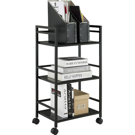 Ameriwood Home Marshall 3 Shelf Metal Rolling Cart, Multiple Colors