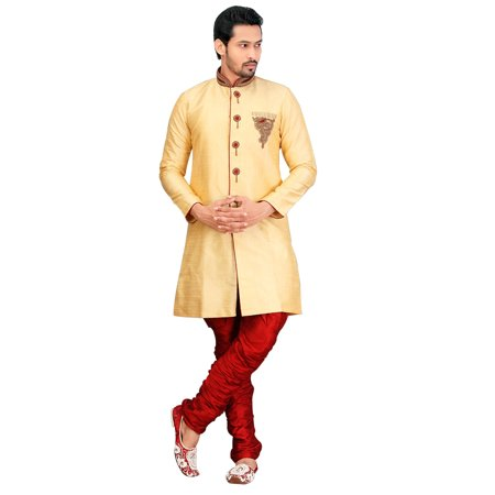 Traditional Dark Cream Dupioni Raw Silk Indian Wedding Sherwani For Men. This product is custom made to order. - image 2 of 2
