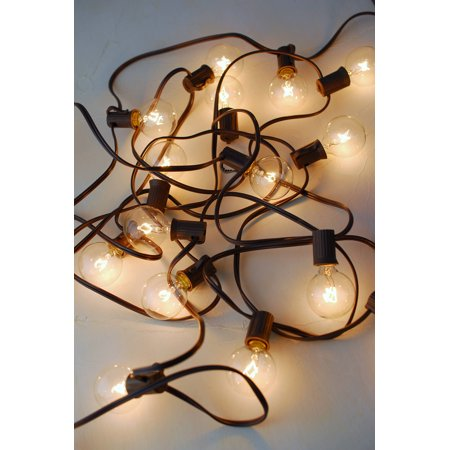 20ct g40 light set patio cafe globe string lights 19ft brown cord with 1 ft spacing