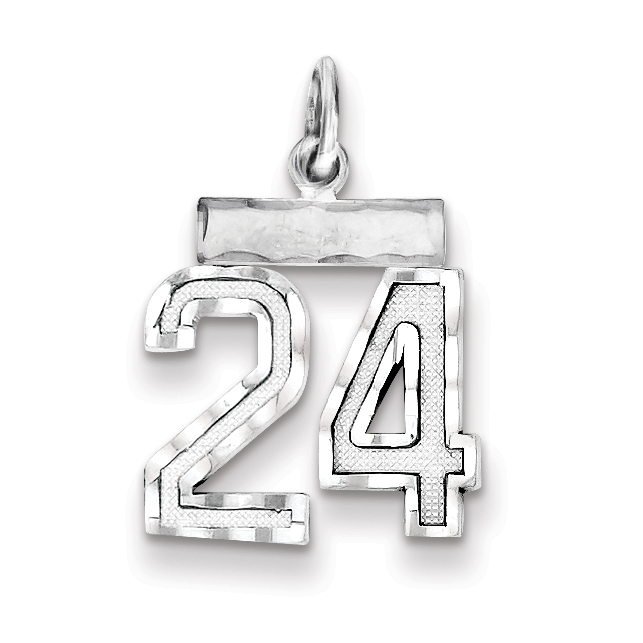 14mm x 20mm Solid 925 Sterling Silver Small #24 Pendant Charm