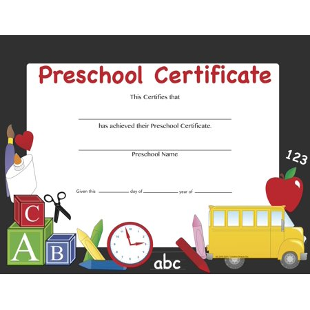 Recognition Certificate - Preschool